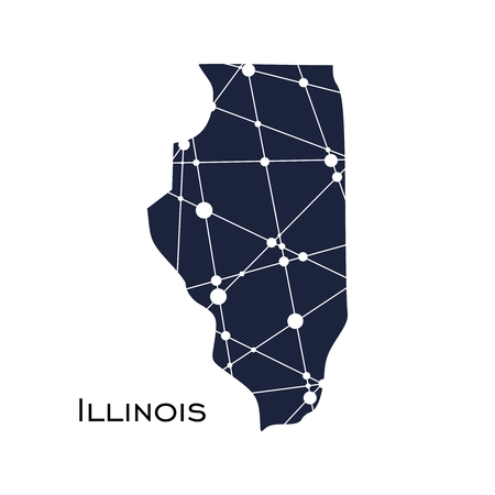 Image relative to USA travel. Illinois state map textured by lines and dots pattern Illustration