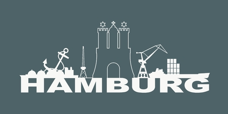 Image relative to Germany travel theme. Hamburg city emblem and nautical transportation icons Illustration