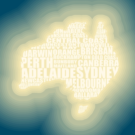 Map of Australia made from cities list. Neon shine effect