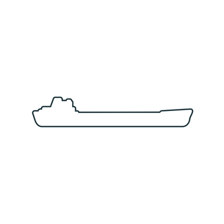 Shipping relative emblem. Nuatical cargo vessel in thin line style