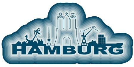 Image relative to Germany travel theme. Hamburg city emblem and nautical transportation icons Illustration