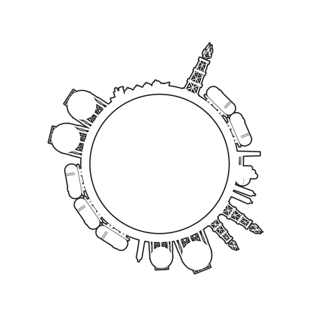 Circle with energy relative silhouettes. Design set of natural gas industry. Objects located around the circle.