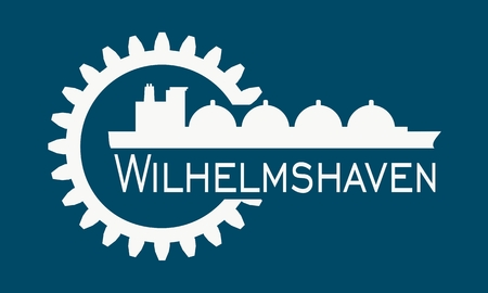 Wilhelmshaven city name in gear and sea ship silhouette. Stock Vector - 127664387