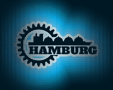 Hamburg city name in gear and sea ship silhouette. Halftone texture