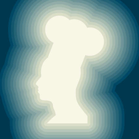 Chef in a cooking hat silhouette. Kitchen simple icon. Ilustração