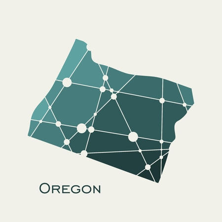 Image relative to USA travel. Oregon state map textured by lines and dots pattern