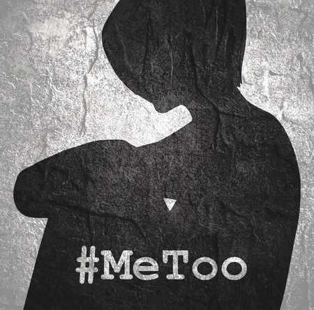 Me too hashtag. Social movement concerning sexual assault and harassment. Woman silhouette Foto de archivo - 112183279