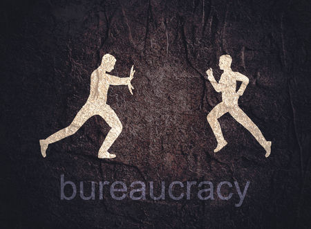 Businessmen stopped by bureaucrat . Bureaucracy concept. Flat illustration Reklamní fotografie