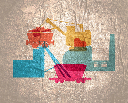 Industrial icons with overlay effect. Design set of coal mine industry. Banco de Imagens