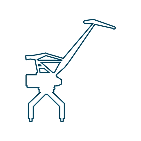Cargo sea port crane icon in thin line style.