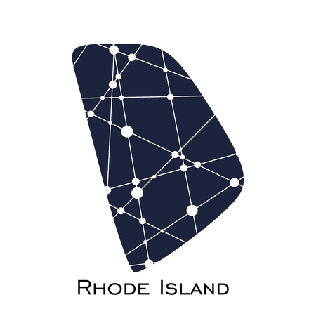 Image relative to USA travel. Rhode Island state map textured by lines and dots pattern