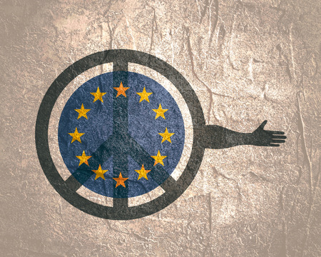 Symbol of Peace with human arm that ready to handshake. Flag of the European Union