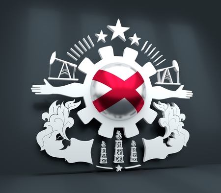 Mining industry emblem. Human arms and cog wheel. Sphere textured by flag of Alabama. 3D rendering