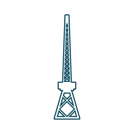 Cargo sea port crane icon in thin line style.