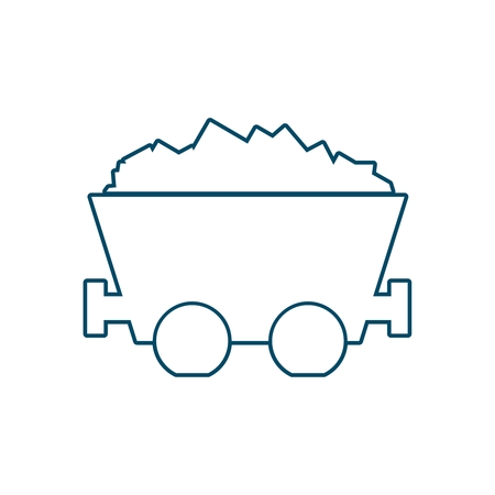 Coal mine wagon. Trolley with coal. Minimal abstract icon in thin line style.