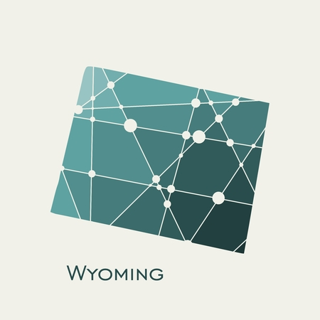 Image relative to USA travel. Wyoming state map textured by lines and dots pattern