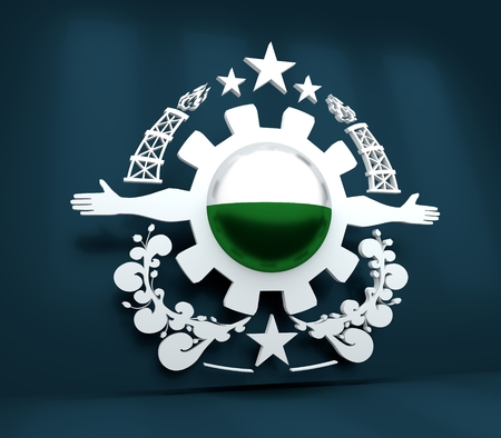 Mining industry emblem. Human arms and cog wheel. Sphere textured by flag of Saxony. 3D rendering