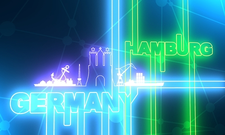 Image relative to Germany travel theme. Hamburg city emblem and nautical transportation icons. 3D rendering Standard-Bild