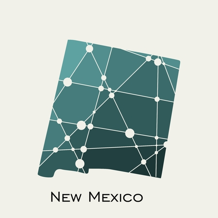 Image relative to USA travel. New Mexico state map textured by lines and dots pattern