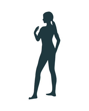 Beautiful sexy fitness girl. Pretty woman silhouette. Side view. Ilustracja