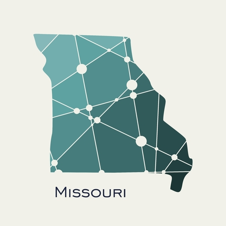 Image relative to USA travel. Missouri state map textured by lines and dots pattern