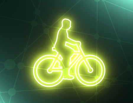 Bicyclist simple silhouette for design and creativity in thin line style. 3D rendering 스톡 콘텐츠