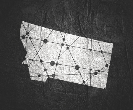 Image relative to USA travel. Montana state map textured by lines and dots pattern