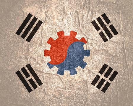 South Korea national flag with cog wheel