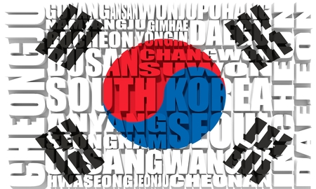 List of cities and towns of South Korea. Word cloud collage.