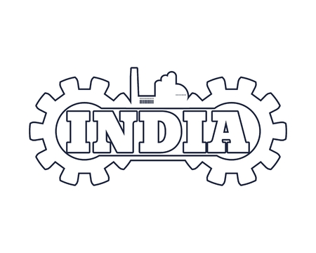 India word build in gear. Heavy industry relative image