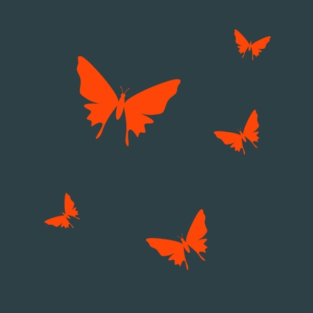 Simple silhouettes of the beautiful red butterflies.