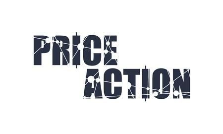 Bourse et bourse. Emblème d'action des prix avec des bougies japonaises décorées par molécule et motif de communication. Lignes connectées avec des points. Vecteurs