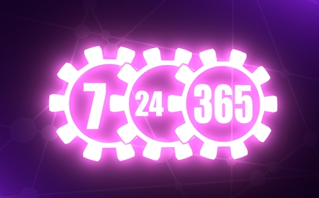 7 day 24 hours 365 day time operation mode in gears. Neon light illumination. 3D rendering