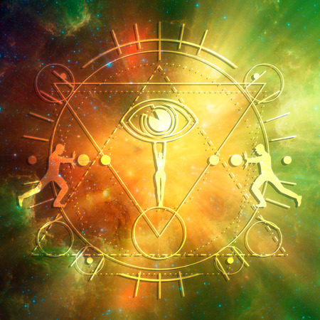 Witchcraft, occult and alchemy sign. Mystical thin lines symbol with silhouettes of a men and woman holding eye.