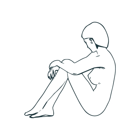 Beautiful fitness girl sitting in relaxing pose. Side view. Thin line style art. Ilustração Vetorial