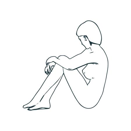 Belle fille de remise en forme assise dans une pose relaxante. Vue de côté. Art de style de ligne mince. Vecteurs