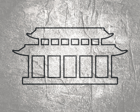 Pagoda icon in thin line style. Asian house Imagens