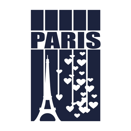 Eiffel tower in Paris. Contour silhouette striped backdrop with hearts icons
