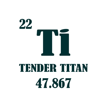 Tender titan. Image relative for gym and bodybuilding. Remastered titan chemical element tag. Chemistry in metaphor design.