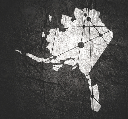 Image relative to USA travel. Alaska state map textured by lines and dots pattern Stock Photo