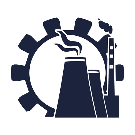Gear and atomic power station icon. Industrial relative set