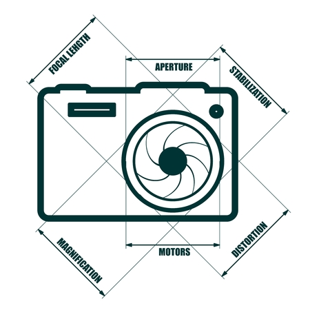 Photo camera icon. Measure lines with main parameters name list.