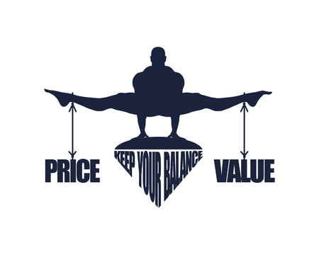 Balance between price and value. Silhouette of a man with the words tied