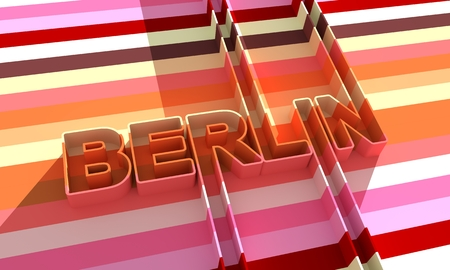 Image relative to Germany travel theme. Berlin city name in geometry style design. Creative vintage typography poster concept. 3D rendering