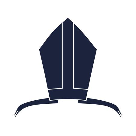 Bishop mitre with shamrok. Catholic hat icon