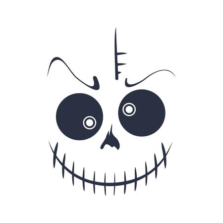 Doodle cráneo con risa malvada. Sonrisa del monstruo Ilustración de vector
