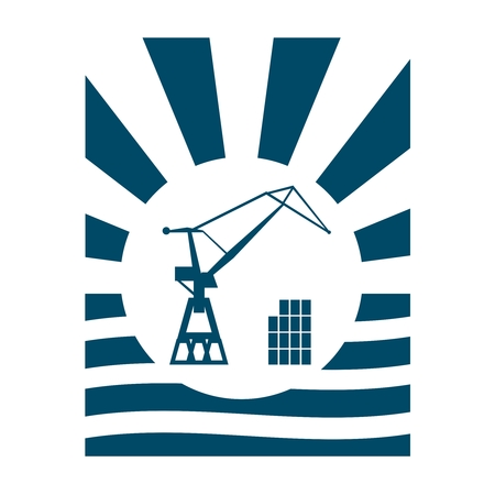 Cargo sea port crane icon. Abstract sun burst vintage banner