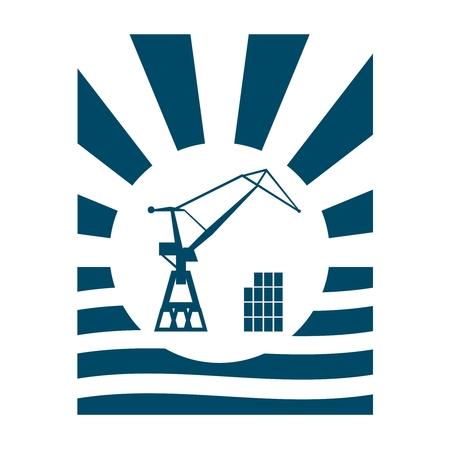 Cargo sea port crane icon. Abstract sun burst vintage banner Illustration