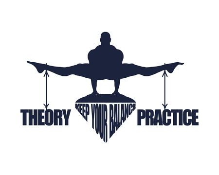 Balance between theory and practice. Silhouette of a man with the words attached Stock Illustratie
