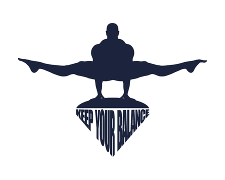 Balance keeping. Bodybuilder silhouette posing. Keep your balance text